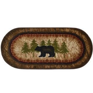 Birch Bear Brown Nylon 20-inch x 44-inch Kitchen Accent Non-slip Lodge Cabin Mat