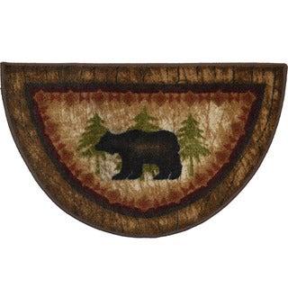 Birch Bear Brown Nylon Non-slip Lodge Cabin Mat (2'7 x 1'7)