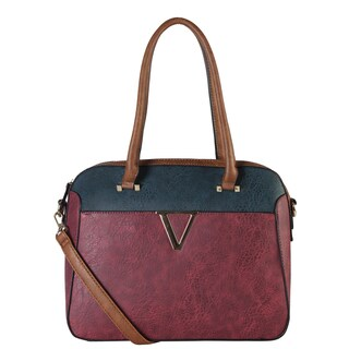 Diophy Two-Tone Accented with Front Metal Decor Tote Bag