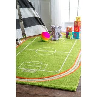 nuLOOM Plush Kids Soccer Field Playmat Rug (5' x 7'5)