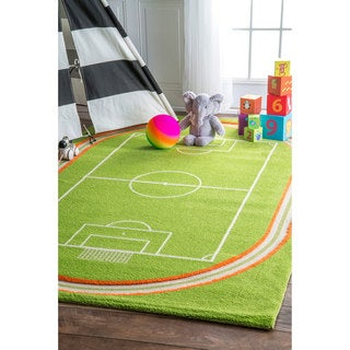 nuLOOM Plush Kids Soccer Field Playmat Rug (3'3 x 5')
