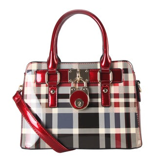 Rimen & Co. Beige/Black/Red Patent Faux Leather Front Lock Mini Plaid Tote Handbag