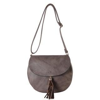 Diophy PU Leather Saddle-style Cross-body Flap Closure Tasseled Decor Mini Bag