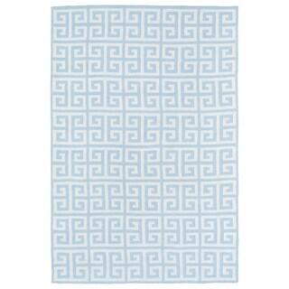 Littles Blue & Ivory Greek Key Microfiber Rug (8'0 x 10'0)
