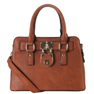 Rimen & Co. PU Leather Front-lock Decor Top-handle Removable Strap Tote Bag
