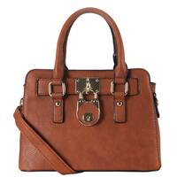 Rimen & Co. PU Leather Front-lock Decor Top-handle Removable Strap Tote Bag