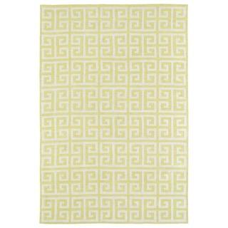 Littles Yellow & Ivory Greek Key Microfiber Rug (3'0 x 5'0) - 3' x 5'