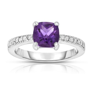 Noray Designs 14k White Gold Checkerboard Amethyst and 1/8ct TDW Diamond Ring (G-H, SI1-SI2)