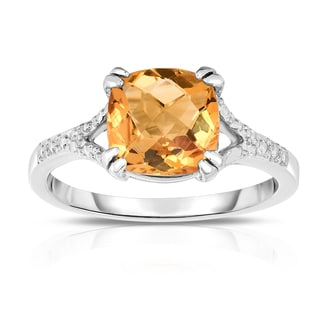 Noray Designs 14k White Gold Checkerboard-cut Citrine Ring