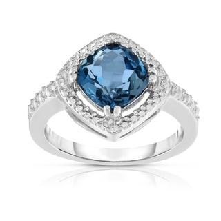 Noray Designs 14k 8-millimeter White Gold Cushion Cut London Blue Topaz ,Cocktail Ring