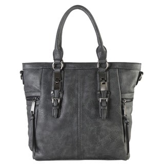 Diophy Gun Metal Camel/Black/Grey Faux Leather Double Side Pockets Casual Tote Handbag