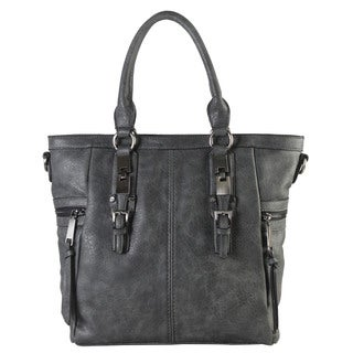 Diophy Gun Metal Faux Leather Double Side Pockets Casual Tote Handbag