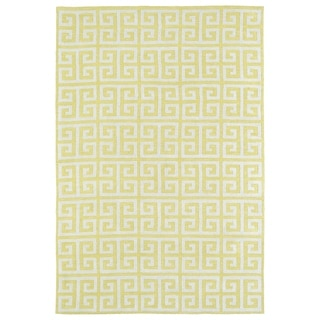 Littles Yellow & Ivory Greek Key Microfiber Rug (8'0 x 10'0)