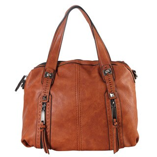 Diophy Gun Metal Pewter/Wine/Brown Faux Leather Double Front Pockets Doctor-style Tote Handbag