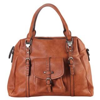 Women's Diophy Blue/Black/Brown Faux Leather Front-pocket Zipper-closure Tote Handbag