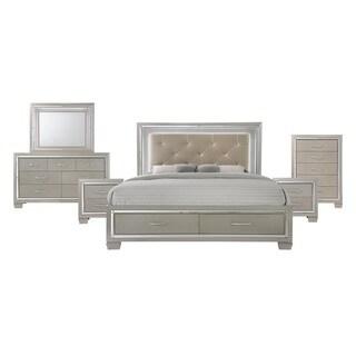 Silver Orchid Odette Glamour Queen Platform Storage 6-piece Bedroom Set