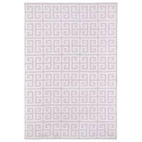 Littles Pink & Ivory Greek Key Microfiber Rug - 2' x 3'