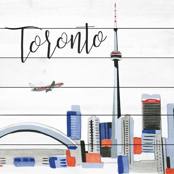 Marmont Hill - Handmade Toronto Skyline Painting Print on White Wood
