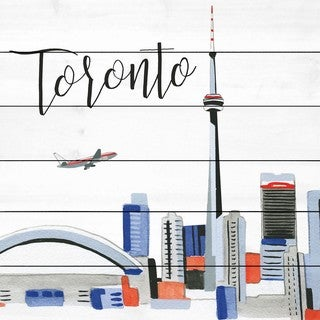 Marmont Hill - 'Toronto Skyline' by Molly Rosner Painting Print on White Wood