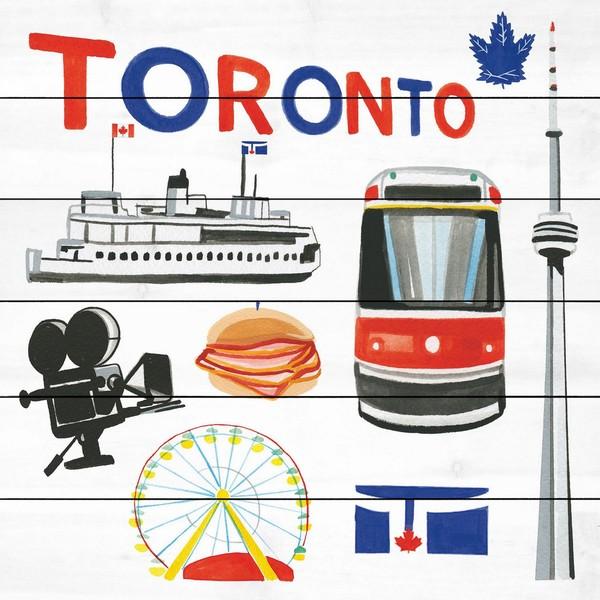 Marmont Hill - Handmade Toronto Motif Painting Print on White Wood