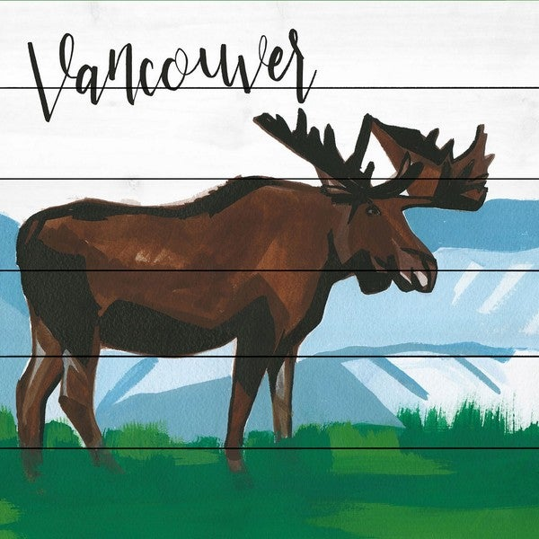 Marmont Hill - Handmade Vancouver Moose Painting Print on White Wood