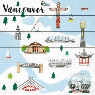 Marmont Hill - Handmade Travel Vancouver Painting Print on White Wood