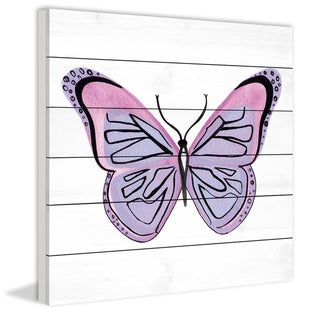 Marmont Hill - Handmade Lavender Butterfly Painting Print on White Wood