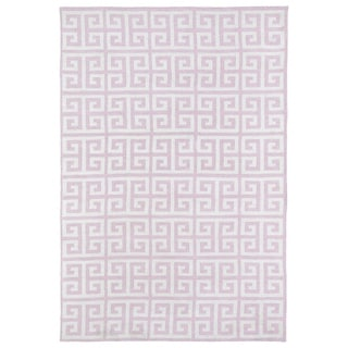 Littles Pink & Ivory Greek Key Microfiber Rug (8'0 x 10'0)