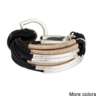Saachi Metallic Cord Wrapped String Bracelet with Brushed Tubes (China)
