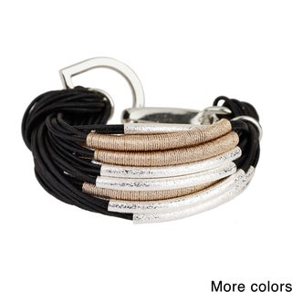 Handmade Saachi Metallic Cord Wrapped String Bracelet with Brushed Tubes (China)