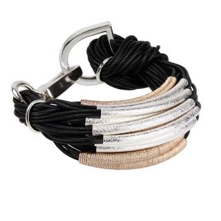 Saachi Metallic Cord Wrapped String Bracelet with Brushed Tubes (China)