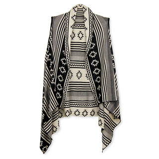 Handmade Saachi Women's Reversible Multi Geometric Open Front Vest (China)