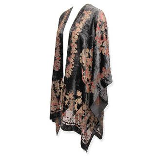 Saachi Women's Flower Garden Velvet Open Front Poncho (China)