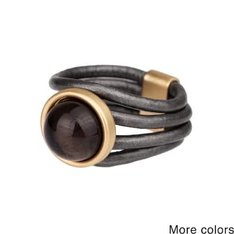 Handmade Saachi Faux Stone Leather Ring (China)