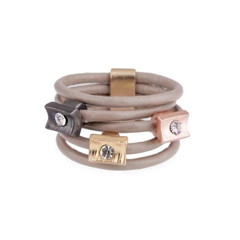 Handmade Saachi Layered Leather Ring (China)