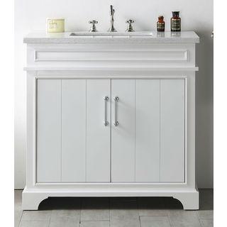 Legion Furniture White 36-inch Quartz-top No-faucet Sink Vanity
