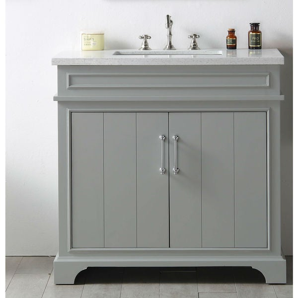 Legion furniture grey mdf wood 36 inch sink vanity with for Legion furniture 30 inch bathroom vanity