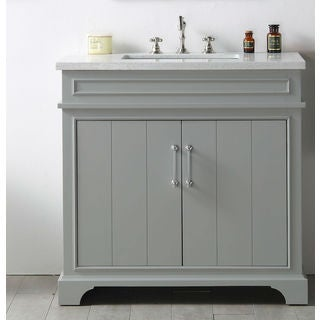 Legion Furniture Grey MDF/Wood 36-inch Sink Vanity with Quartz Top and No Faucet