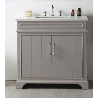 Legion Furniture Grey Ceramic/Wood/MDF 36-inch Sink Vanity with Quartz Top