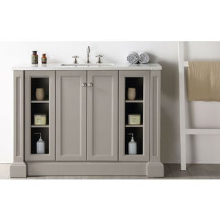 Legion Furniture Warm Grey/Brushed Nickel Wood/Quartz Single-sink Vanity