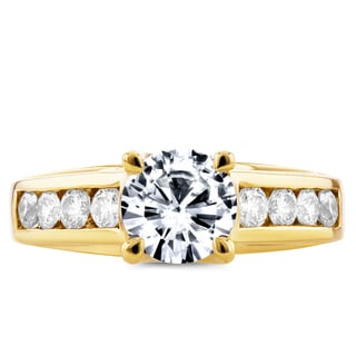 Annello 14k Yellow Gold Forever One Moissanite and 1/2ct TDW Diamond Channel Band Engagement Ring (G-H, I1-I2)