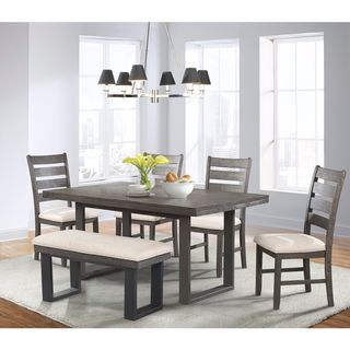 Picket House Furnishings Sullivan 6PC Dining Set- Table, 4 Dining Chairs & Dining Bench