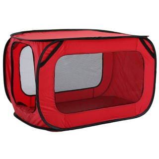 Rectangular Elongated Mesh Canvas Collapsible Outdoor Pet Tent with Bottle Holder