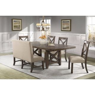Picket House Furnishings Francis 6PC Dining Set-Table, 4 X-Back Dining Chairs & Fabric Back Bench