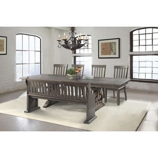 Picket House Furnishings Stanford 6PC Dining Set Table, 4 Dining Chairs U0026  Pew Dining