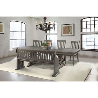 Picket House Stanford Dining Table, 4 Side Chairs, Pew Bench