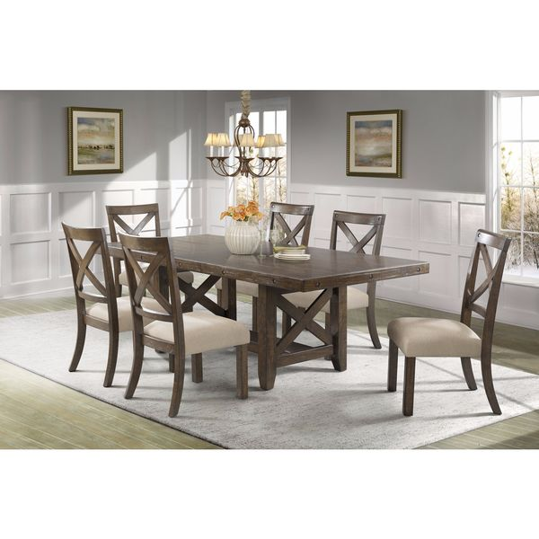 Picket House Furnishings Francis 7PC Dining Set-Table & 6 X-Back Wooden Dining Chairs
