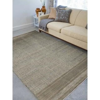 Abram Ice Blue New Zealand Wool Hand-knotted Area Rug (6' x 9')