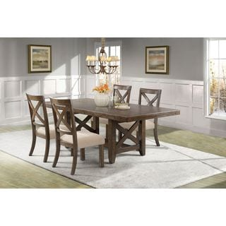 Picket House Francis Dining Table, 4 X-Back Wooden Chairs