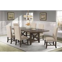 Picket House Furnishings Francis 7PC Dining Set Table 6 Fabric Chairs